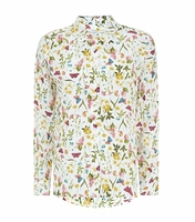 Equipment Multicolor Tranquil Garden Print Silk Shirt