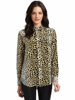 Equipment Slim Signature Animal Print Silk Blouse