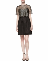 Black Addison Mosaic Jacquard Dress