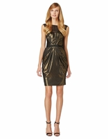 Black Elisa Metallic Pleated Dress