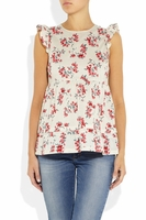 Floral-print cotton top