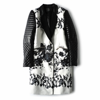 Floral Printed Biker Long Coat