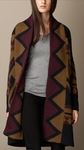 Geo Print Wool Sweater Coat - 10.1