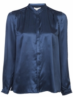 Blue Banded Collar Blouse