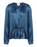 Blue Smocked Charmeuse Blouse