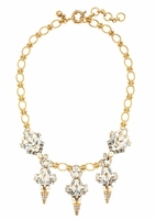 Gold Crystal and Pearl Chandelier Necklace