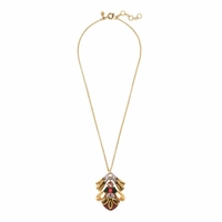 Gold Crystal Bee Pendant Necklace