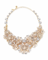 Gold Grand Bouquet Statement Necklace Clear