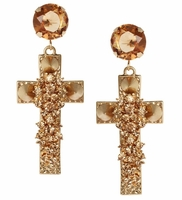Gold Jewel Cross Earrings