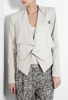 Gray Linen & Leather Combo Jacket (On Sale)