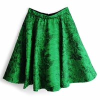 Green Cohe Embroidered Midi Skirt