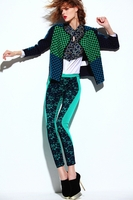 Green Harmony Interlock Abstract Floral Lace Pants