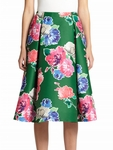 Green Pleated Floral Skirt