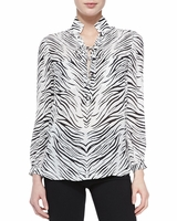 Haute Hippie Animal Lace-up Blouse W Zebra Print