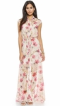Haute Hippie Multicolor Cap Sleeve Chiffon Maxi Dress - 4.23