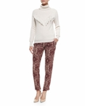 Haute Hippie Tailored Slim Shady Pants Shadow Snake Merlot