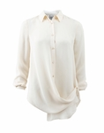 Haute Hippie White Button Down Crossover Blouse - 3.20