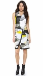 Helmut Lang Yellow Fold Over Cubist Print Dress - 3.21
