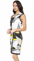 Helmut Lang Yellow Fold Over Cubist Print Dress