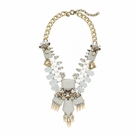 FRINGED JEWEL STATEMENT NECKLACE