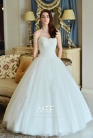 JACQUARD STRAPLESS WEDDING DRESS