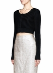Jason Wu Black Cropped Rib Cardigan