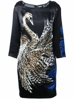 JUST CAVALLI Black Swan Print Dress
