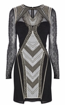Karen Millen Black Geometric Embroidery Dress - 4.24