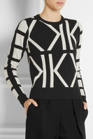 Black Estelle Kintarsia Wool and Cashmereblend Sweater