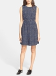 Kate Spade Blue Windowpane Print Silk Blend Dress - 8.11