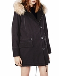 Maje Black Gaston Fur Trim Parka - 12.24