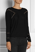 Black Gravure Lace Paneled Wool Sweater