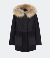 MAJE GLOBE Dual fabric parka with fur hood