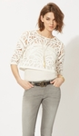 LIVIER Lace optical illusion cropped top