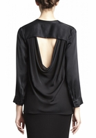 ALICE OLIVIA MANDARIN COLLAR LONG SLEEVE BLOUSE
