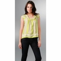 "Women's ""Halo"" Metallic Striped Shirt Top"