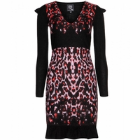Black Leopard Pixel Jacquard Dress