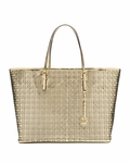 Gold Medium Perforated Flower Travel Tote
