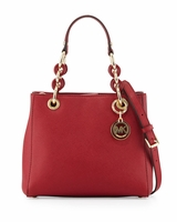 Michael Kors Cynthia Small Saffiano Satchel Bag Cherry