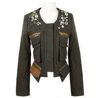 Military Beading Button Pockets Jacket