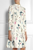 White Printed Crepe Dress