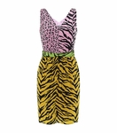 Multicolor Animal Print Colour Block Dress