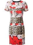 Multicolor Leopard Rose Shift Dress