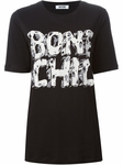 Black Bone Chill Print Silk Dress