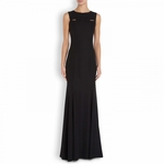 Moschino Cheap Chic Black Cutout Bow Embellished Crepe Gown