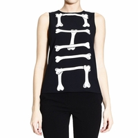 Moschino Cheap & Chic Black Top Sleeveless Silk Printed Chic Bones
