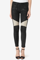 Moto Super Skinny Black Leather Jeans