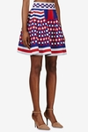 Multicolor Blue and Red Knit Check Circle Skirt