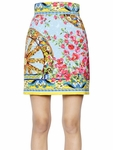 Multicolor Floral Jacquard Skirt
