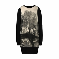 Black Landscape Print Dress